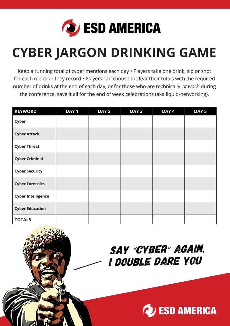 ESD Cyber Jargon Drinking Game